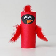 Celebrate winter and nature's beauty by creating this fun and bright cardinal from a cardboard tube!