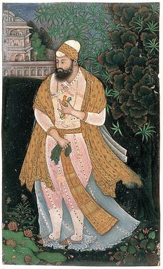 """Sultan Ibrahim Adil Shah II Holding Castanets Artist: Attributed to the """"Bodleian painter"""" Object Name: Album leaf, illustrated Date: ca. 1610–20 Geography: India, Deccan, Bijapur Culture: Islamic Medium: Ink, opaque watercolor, and gold on paper Dimensions: Image: 6 11/16 × 4 in. (17 × 10.2 cm) Mount: 22 × 16 in. (55.9 × 40.6 cm) Frame: 23 11/16 × 17 11/16 × 7/8 in. (60.1 × 44.9 × 2.2 cm) Classification: Codices Credit Line: Courtesy of the Trustees of the British Museum"""