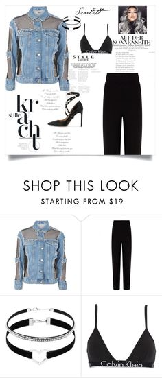 """""""Moto Jacket"""" by lady-jg ❤ liked on Polyvore featuring Topshop, Balenciaga, Calvin Klein Underwear and Valentino"""