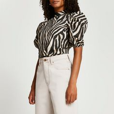 River Island, Cotton Blouses, Zebra Print, Style Guides, Night Out, White Shorts, Beige, Casual, Sleeves