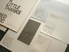 "Designed by Perky Bros | Printer: Studio on Fire |  United States  ""This stationery system for BEDROC is a great example of how a designer can curate a combination of materials to support the overall design aesthetic of their project. The business cards are printed on Neenah Classic Crest Slate 80lb cover custom duplexed to Neenah Classic Crest Recycled Natural White 100lb cover. A subtle tonal letterpress varnish graces both sides of the card with an additional ink for the contact inform"