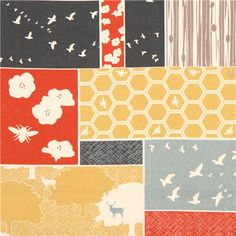 Patchwork forest stag bee canvas organic fabric birch USA