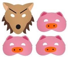 Three pig and wolf masks