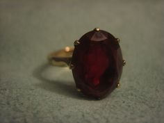 Vintage ruby ring, 14 karat gold, one of the first synthetic rubies every made, $225.00