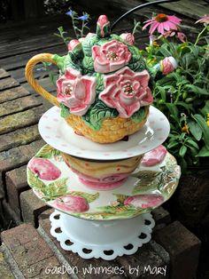Garden Totem Centerpiece Magnolia Teapot  by GardenWhimsiesByMary, $45.00