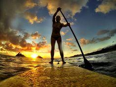 Photo of the Day! Sunrise paddling in Hawaii. Photo by Pua Jumawid. #GoPro #sunrise #SUP