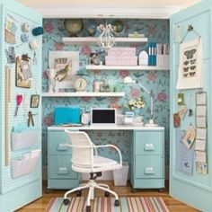 I have loved this closet for such a long time - glad to see it pop up here.  The Peg board doors and the wallpapered back.  This is a must for the guest room @Sharon Kelley
