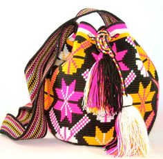 One of a Kind Nativo Style Large Peace Wayuu Mochila-bag 1 strand handwoven in…