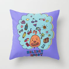 Holiday Mood!  Throw Pillow by PINT GRAPHICS - $20.00