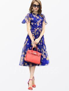 Floral Ruffle Sleeve Falbala Zipper Pleated Women's Day Dress