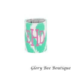 Mongorammed Coozies - 3 colors to choose from monogrammed Kit Kat Print coozie, ikat print www.glorybeeboutique.com