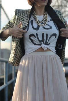 skirt.T.chains.blazer. --- this is definitely something I would do.. glad I'm not the only one who things like this lol