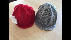 Tuto bonnet, casquette  avec visière  au crochet Bonnet Crochet, Crochet Beret, Knitted Hats, Crochet Christmas Hats, Slouchy Beanie, Crochet Videos, Family Christmas, Couture, Knitting