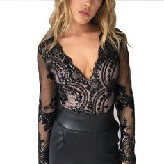 b8e2a0fa6b Sexy Women Clubwear party Sequined bodysuits skinny long sleeve mesh  patchwork deep v-neck see