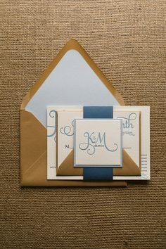 ADELE Suite Cutie Package, navy blue and kraft, shades of blue wedding, baby blue, rustic wedding invitations, letterpress wedding invitations, http://justinviteme.com/collections/samples-1/products/adele-suite-sample