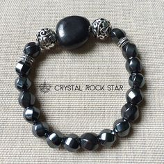 Vortex   Grounding Protection Bracelet from EMF, Stress and Negativity   Shungite and Hematite Crystals. Root chakra healing bracelet to absorb harmful energies. crystalrockstar.com