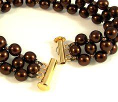 Chocolate Pearls Czech Glass Pearl Bracelet by desertshinejewelry, $34.00