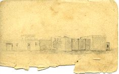 1837 George Fulton: sketch of the southern sides of the Alamo gatehouse & church as well as the upper floor of the convento. Fort Sam Houston, Texas Revolution, Mexican American War, Texas History, Spanish Style, Fulton, San Antonio, Aircraft, Southern