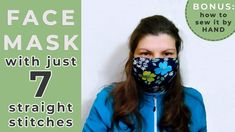 Do you want a face mask with a good coverage that you can sew up in 5 minutes flat? A lot of readers asked me to come up with a beginner friendly pattern that s mask pattern Easy Face Masks, Diy Face Mask, Hand Mask, Blue Mask, Homemade Face Masks, Straight Stitch, Mouth Mask, How To Make Diy, Diy Mask
