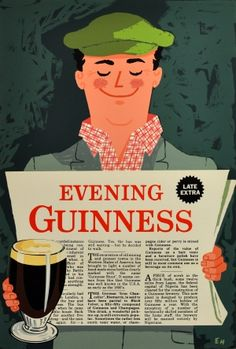 Evening Guinness, 1962 - original vintage poster listed on AntikBar.co.uk