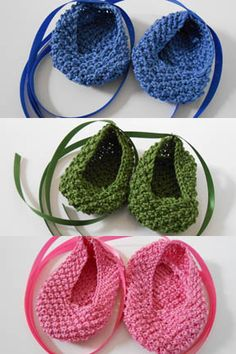Baby Ballet Slippers Free Pattern from Tahki Stacy Charles - knit on a smaller needle for AG dolls