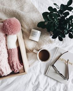Coffee, candles and a box full of beanies! #etsy #hygge #homedecor #knitting