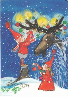 Postcard travelled km miles) in 9 days (from Finland to United Kingdom): by Virpi Pekkala Christmas Fairy, Magical Christmas, Christmas Clipart, Vintage Christmas Cards, Vintage Cards, All Things Christmas, Pattern Illustration, Scandinavian Christmas, Art Wall Kids