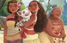 Moana with Pua and her Mother, Sina and Gramma Tala