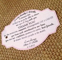 Thank you tags for your wedding reception- customized with your colors!