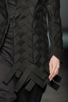 Woven textiles design for fashion - jacket with ribbon weave structure; fabric manipulation; garment construction detail // Miriam Ponsa by Maija Ābele