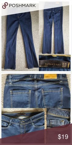 Zara Women's Jeans Like new No rips No holes No stains  Small amount of stitching came off small side pocket. See bottom right of second photo Straight leg  Size 8 Inseam is 32 inches  98% cotton  2% spandex Zara Jeans