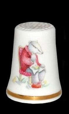 RP: Royal Albert  Wind in the Willows Collection Thimble Badger  - royalalbertpatterns.com
