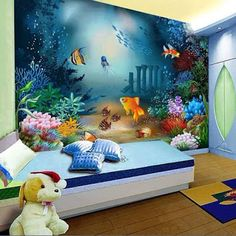Decoracion Hogar - Comunidad - Google+ Bedroom Themes, Kids Bedroom, Bedroom Decor, Bedroom Ideas, Bedroom Tv, Bedroom Green, Nursery Decor, Kids Room Wallpaper, Trendy Bedroom
