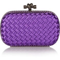 Bottega Veneta The Knot watersnake-trimmed intrecciato satin clutch ($1,395) ❤ liked on Polyvore featuring bags, handbags, clutches, bolsas, satin purse, special occasion clutches, evening clutches, bottega veneta and evening purses