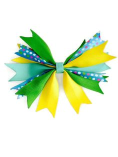 Girls Spiked Hair Bow Green Turquoise by YoungSparkleandShine, $4.50