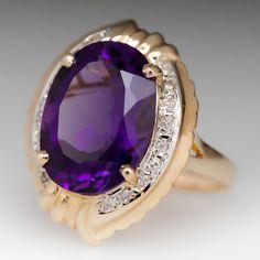 Rosamaria G Frangini | High Purple Jewellery | 6.9 Carat Amethyst & Diamond Ring 14K