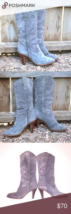 Vintage Cowboy boots gray suede wood heels Brazil 🇧🇷 vintage 1970s 80s 9 West suede boots made in Brazil! These are a size 6 and run true. Please gander closely at photos, as these are VINTAGE and have a few sings and spots. Wooden stacked heels and soles are in really good shape. Medium dove gray suede is a bit stiff from not being worn, but should soften nicely. Logo inside footbed still visible. I got these used, about 20years ago and wore them once. Safely stored in home which is NOT…