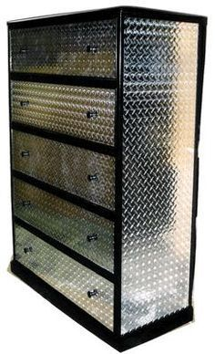 The Chic Technique: Boys bedroom idea - Neat idea for an old chest-of-drawers. Paint black (rattle can is fine) and adhere either thin gauge diamond plate or the adhesive lookalike kind.