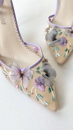 Wedding Shoes Bride, Bride Shoes, Wedding Accessories, Fashion Accessories, Butterfly Heels, Purple Heels, Evening Shoes, Fashion Heels, Beautiful Shoes