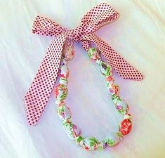 Fabric and Wooden Bead Necklace- use unfinished wood beads for teething necklace