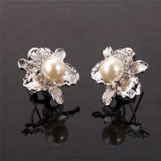 Flower Platinum/18K Real Gold Plated Rhinestone & White Pearl Romantic Stud Earrings Women Gift