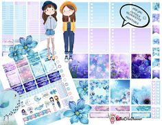 Printable Blue Spring Planner Stickers Vertical Planner