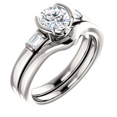 #HalfBezelSetting #BezelSetDiamondRing #BridalRings #UniqueEngagementRings  http://www.BloomingBeautyRing.com