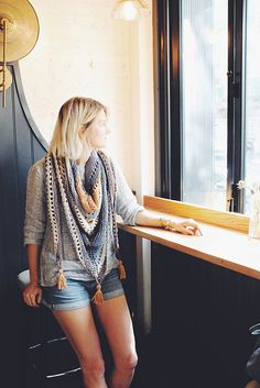 Perfect for summer and early fall, make this wrap with Lion Brand 24/7 Cotton! Coffee Shop Wrap pattern by Alexandra Tavel.