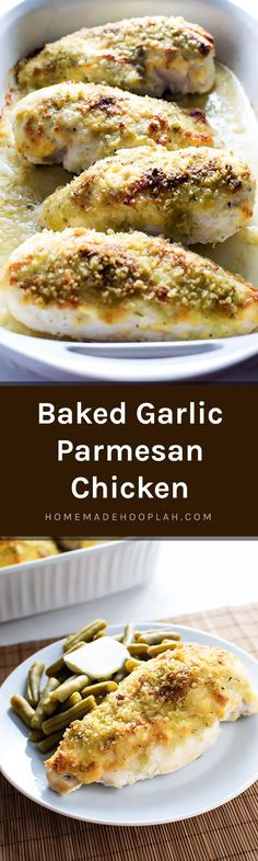 Baked Garlic Parmesan Chicken! The perfect no fuss-dinner: just mix the ingredients together, spread on top of the chicken, and bake. No marinating, no dipping, no coating - just easy! | HomemadeHooplah.com