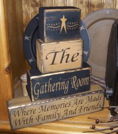GATHERING ROOM  PRIMITIVE BLOCK SIGN SIGNS  -  I just ordered this set of blocks for our new home.  Paypal accepted!