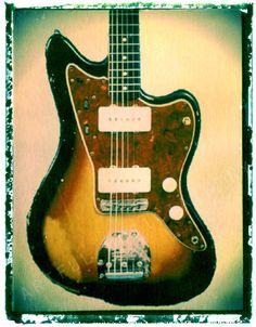Guitar art, guitar print, Fender Jazzmaster Jaguar jazzmaster sunburst  $25.00 http://www.guitarartprint.com