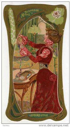 chromo doree biscuits lu levfevre utile festonnee art nouveau style duchesse anne portrait