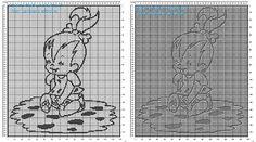 Copertina bimba neonato a filet uncinetto con Ciottolina degli Antenati I Flintstones
