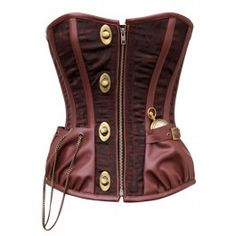 CD-464 - Brown Brocade Steampunk Style Overbust Corset with Pocket Watch Detail - In Stock/Made To Order - COTD
